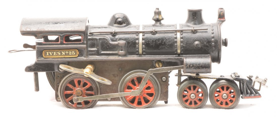 422: Ives no. 25 Black Cast Iron Clockwork Steam Loco