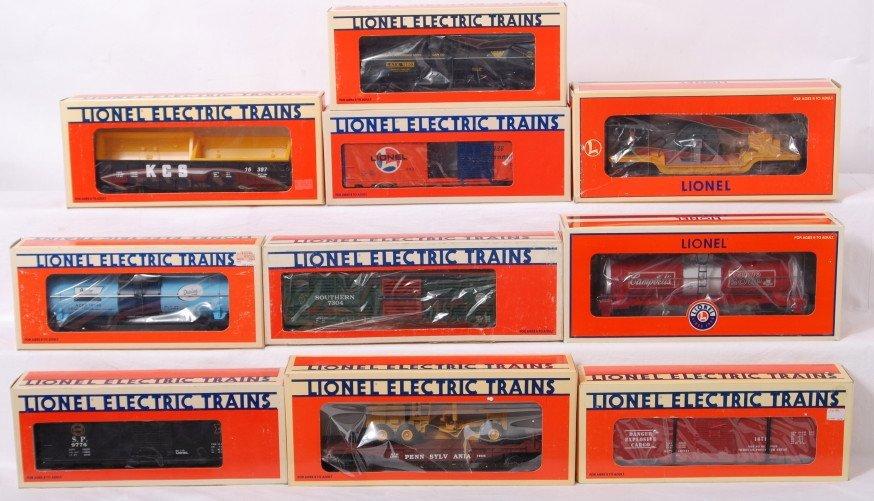 8: 10 Lionel freight cars 7304, 9776, 19858, etc