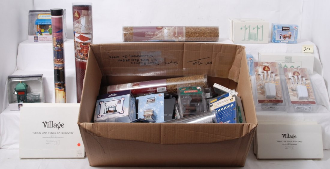 20: Large box of Dept 56, and other O gauge accessories