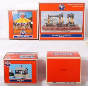 4 Lionel Accessories, Carousel, Oil Field, Rescue,