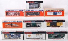 10 Lionel Freight Cars 19804, 52053, 16615, Etc