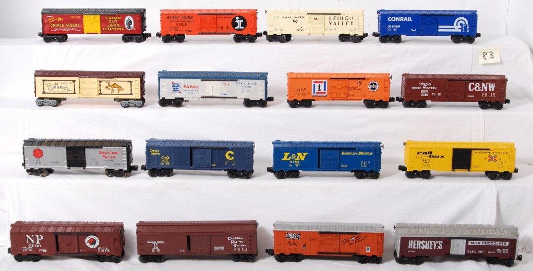 83: 16 O gauge boxcars