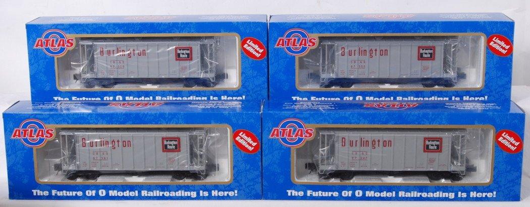 924: 4 Atlas O Burlington GATX air slide hoppers