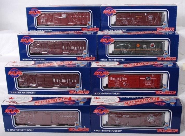 927: 8 Atlas Trainman boxcars Pennsylvania, CB&Q, etc