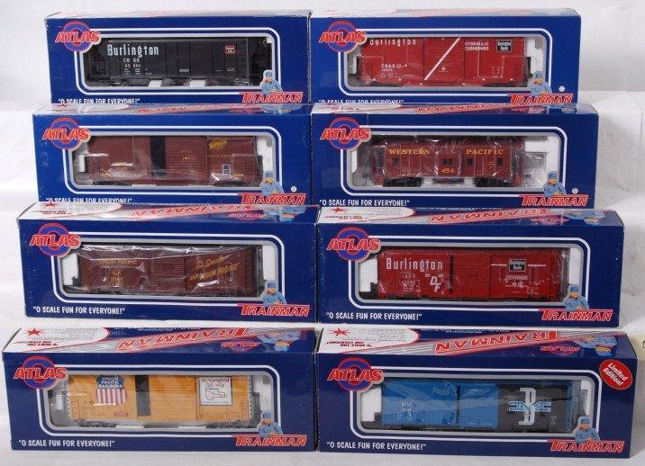 930: 8 Atlas Trainman 2 rail freight cars CB&Q, WP, etc