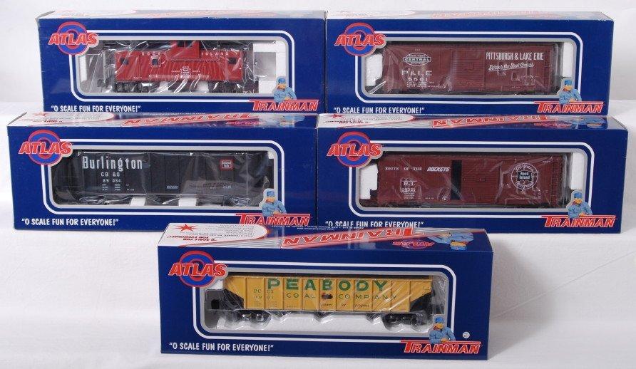 941: 5 Atlas O Trainman two rail freight cars