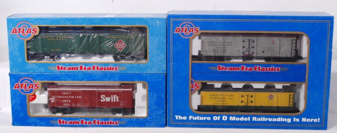 942: 4 Atlas modern O gauge wood side reefers