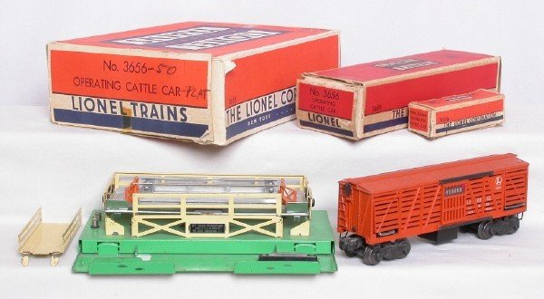 3011: Lionel 3656 Armour cattle car with stockyard, OBs