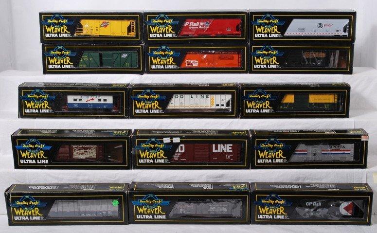 5: 15 Weaver freight cars, CNW, Amtrak, Soo Line, etc.