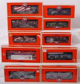 9: 10 Lionel freight cars 19685, 36001, 52280, etc