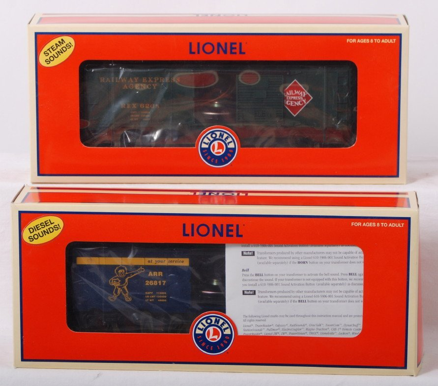 11: Lionel steam and diesel Trainsounds boxcars