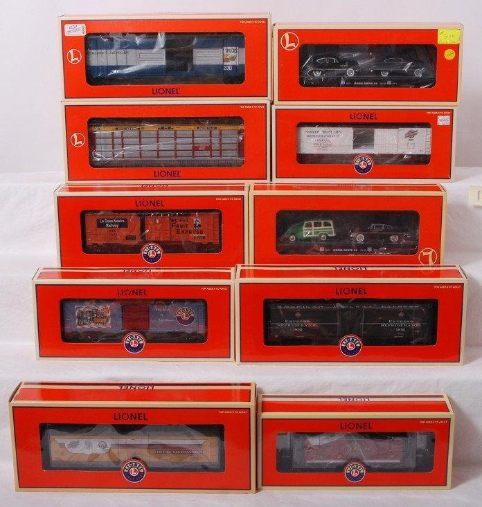 12: 10 Lionel freight cars 26156, 36276, 52426, etc