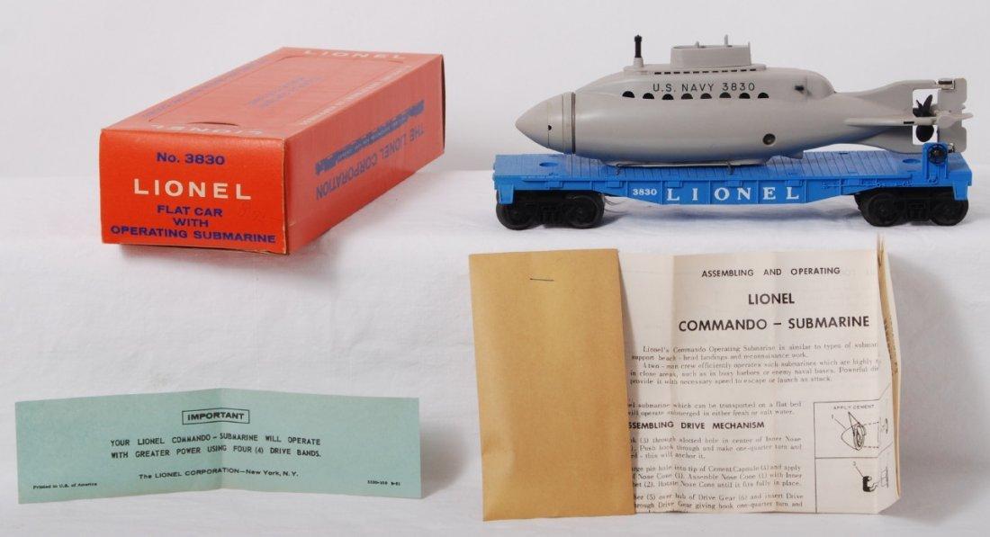 810: Lionel 3830 flatcar w/U.S. Navy operating sub in O