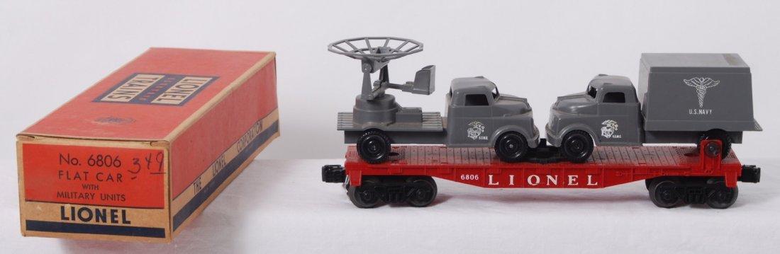 818: Lionel 6806 flatcar w/Military Units in original b