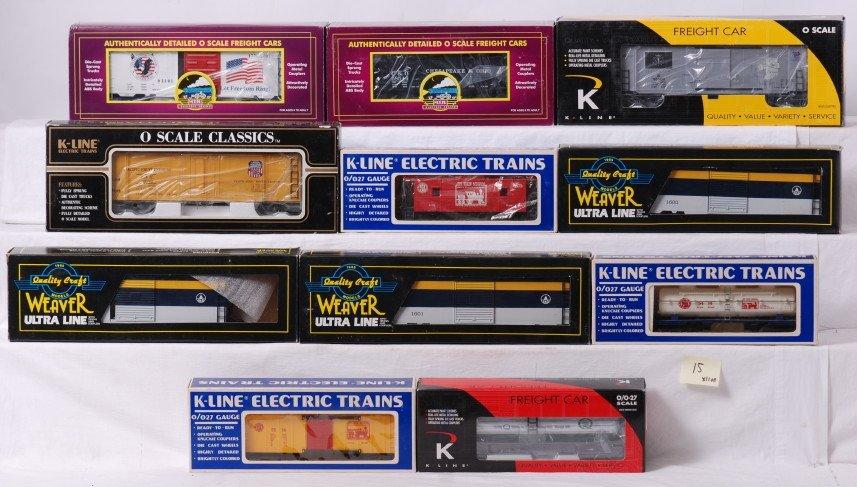 15: 11 O gauge freight cars MTH, Weaver, K Line, etc