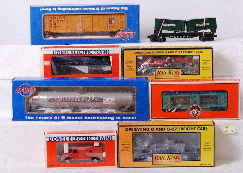 24: 8 Lionel, Atlas O, Railking freight cars / motorize