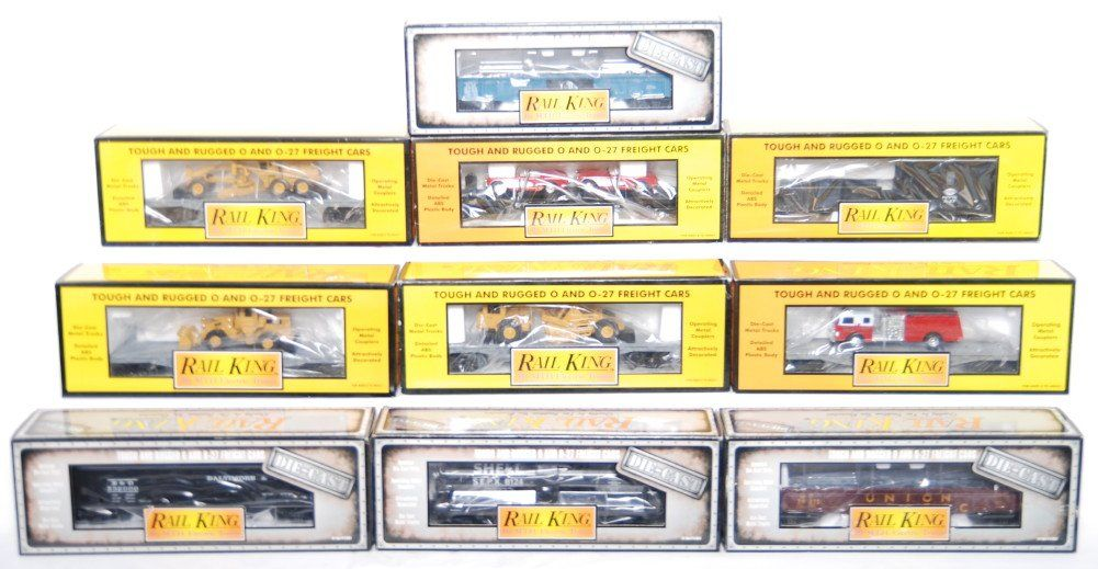 144: 10 Railking freight cars 8001, 7616, 7619, etc