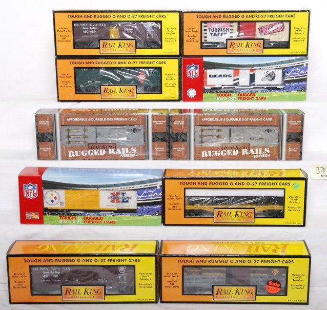378: 10 Railking freight cars 78025, 74319, 74155, etc