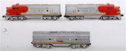 695: Lionel 2343P, 2343C, 2343T Santa Fe F3 A-B-A units
