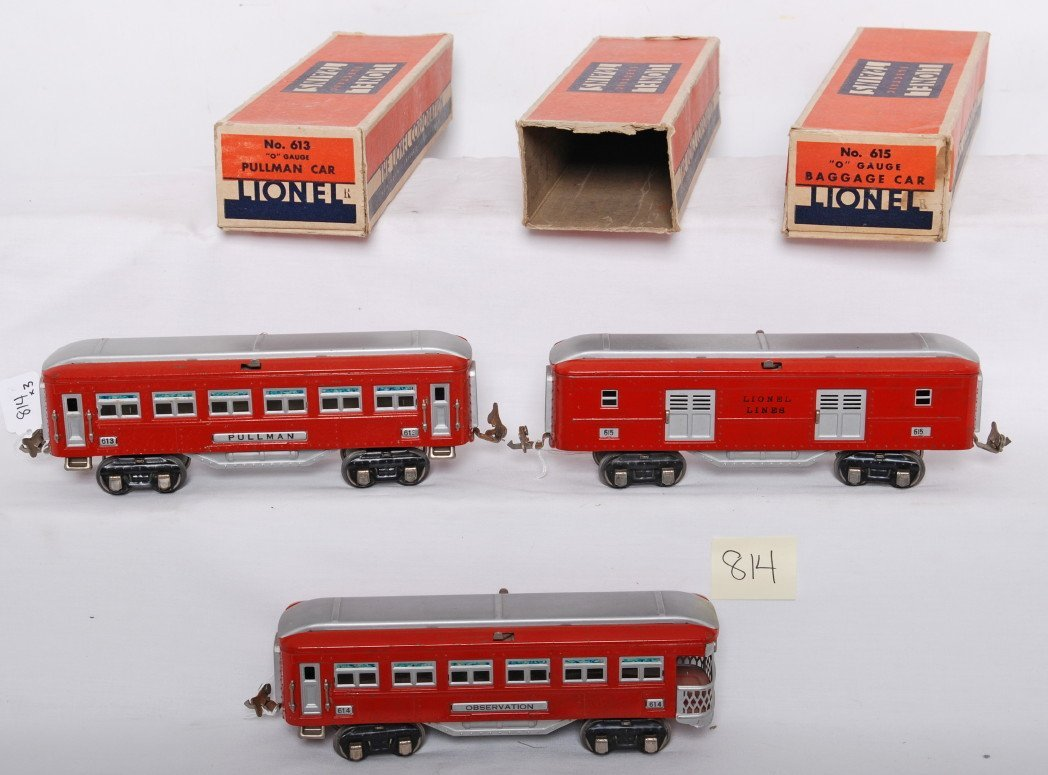 814: Lionel 613, 614, and 615 passenger cars in OB
