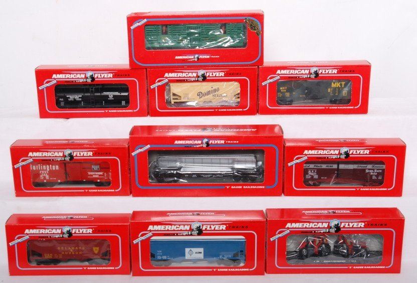 3: 10 American Flyer freight cars 49608, 49010, 48609,