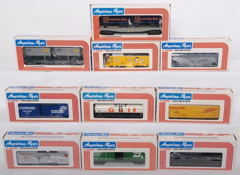 14: 10 American Flyer cars 9206, 48302, 9106, etc