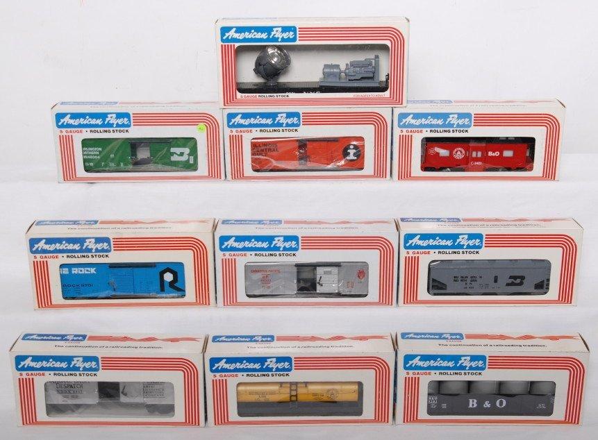 23: 10 American Flyer cars 48304, 49001, 48302, etc.