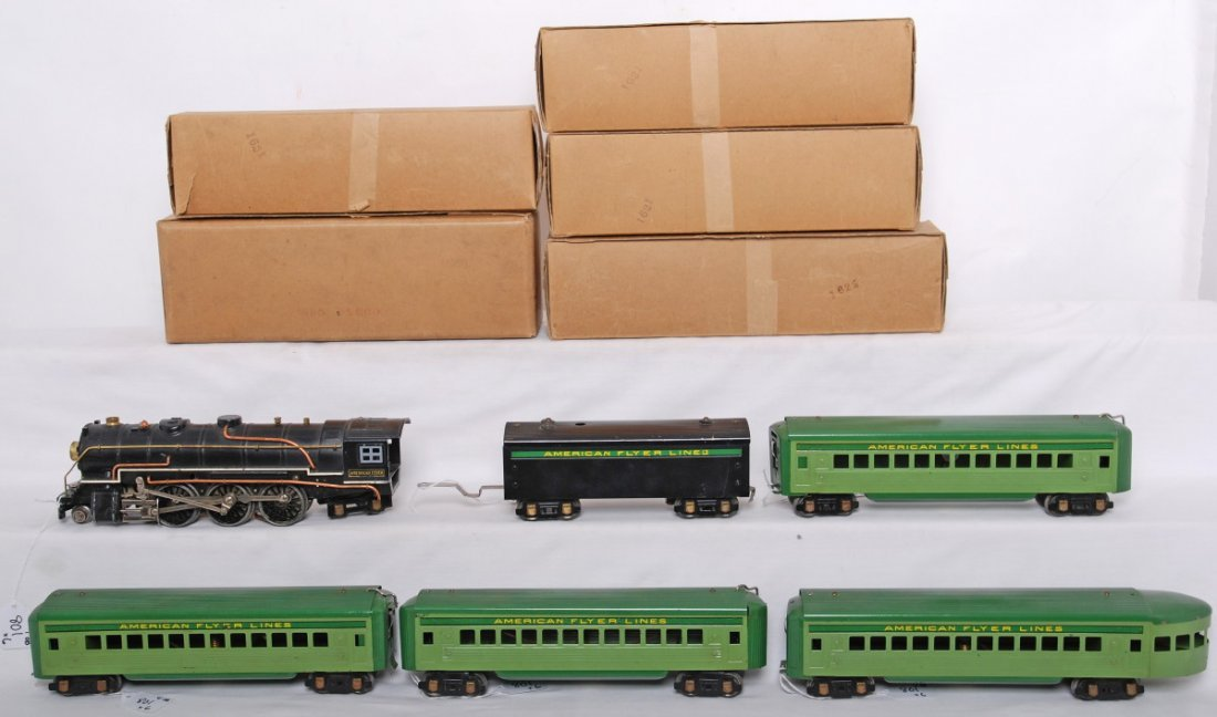 801: American Flyer Green diamond steam passenger set