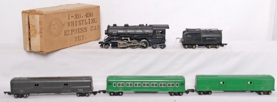 815: American Flyer 3/16 steam passenger set w/425, 490