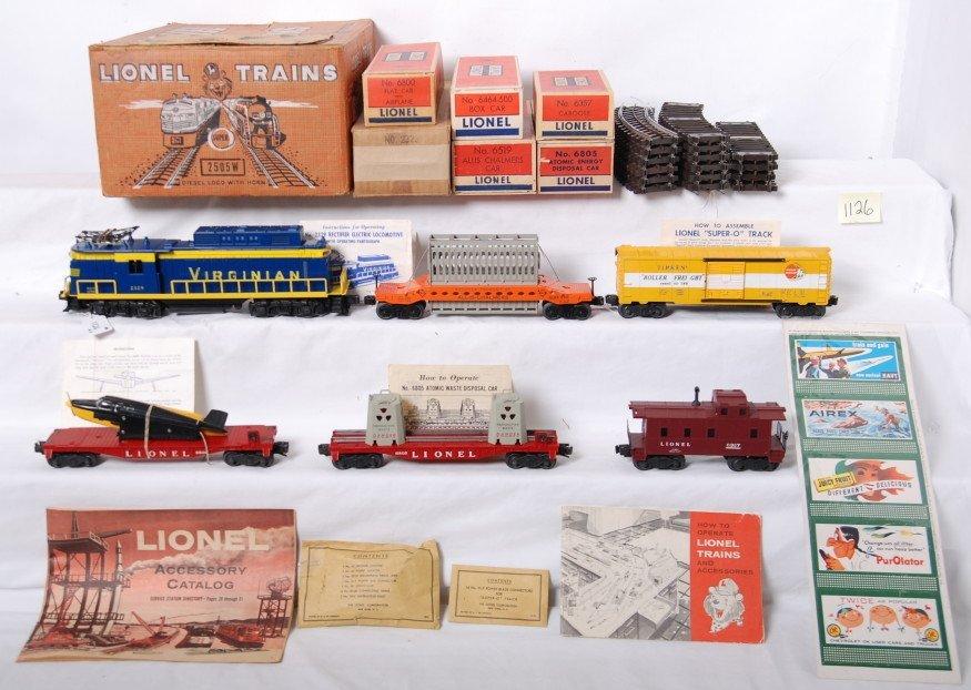 1126: Lionel 2505W Virginian rectifier freight set in O