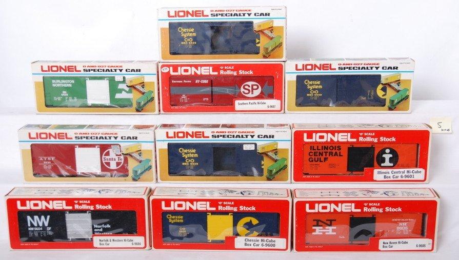 5: 10 Lionel Hi Cube boxcars 9628, 9607, 9629