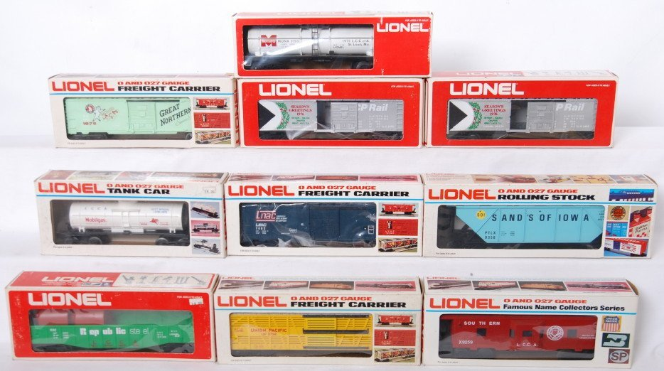 12: 10 Lionel LCCA, TCA cars 9036, 7403, 9728, etc