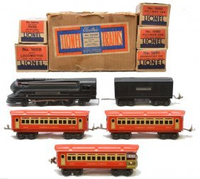 6: Lionel Litho Red/Cream Pass Set no. 1074W LN OBs
