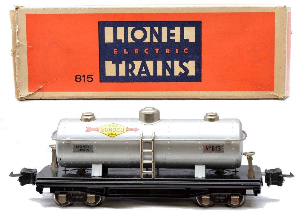 23: Lionel Prewar 815 Silver Sunoco Tank LN Boxed