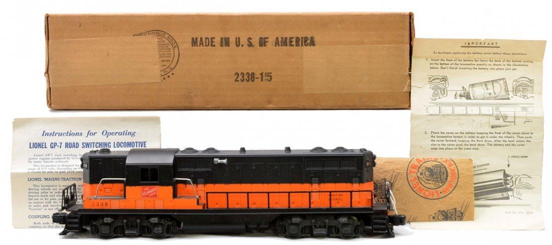 141: Lionel 2338 Milwaukee GP7 w/Solid Orange Band MIB