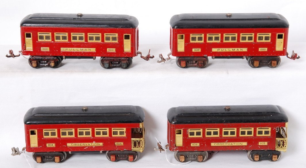 7: Lionel 603x2 and 604x2 red & black passenger cars