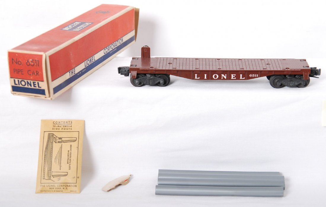 807: Lionel 6511 brown flat w/sealed packet in OB, Mint
