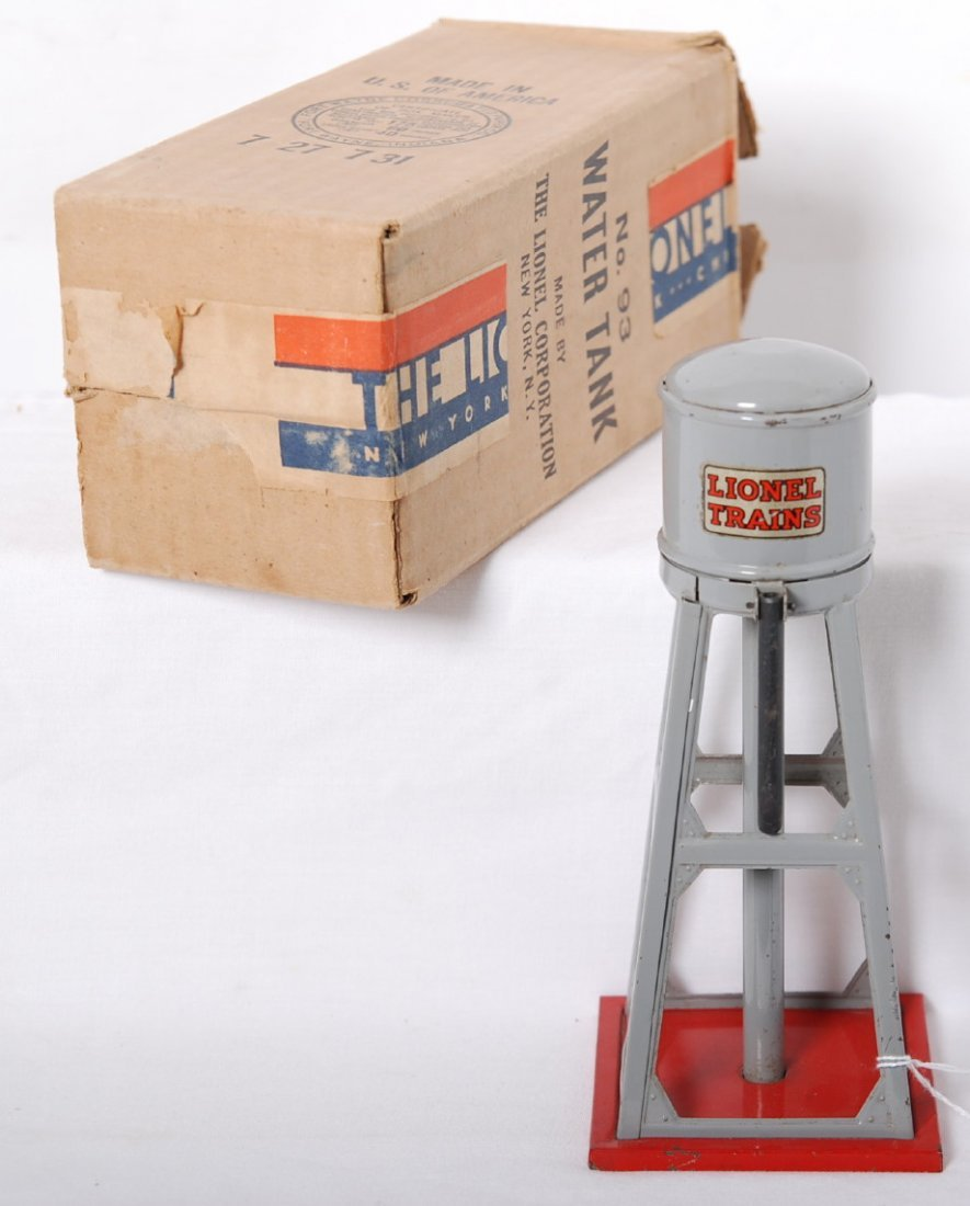 821: Lionel No. 93 water tower in OB  gray and red