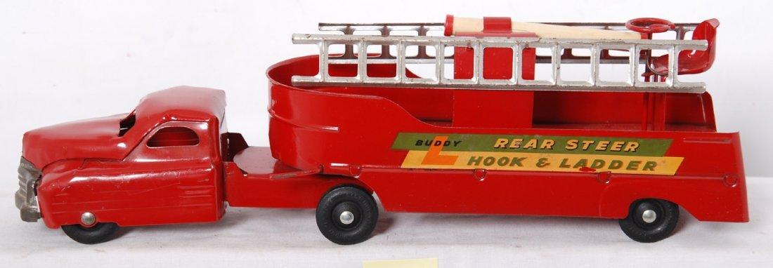 20017: Buddy L Rear Steer Hook and Ladder pressed steel