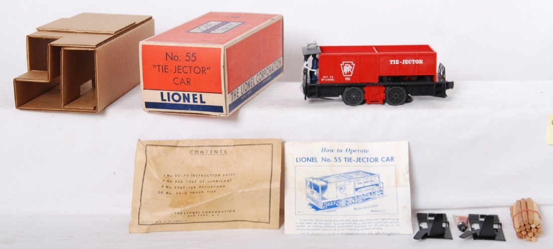 815: Lionel 55 tie-jector car in OB w/inserts, componen