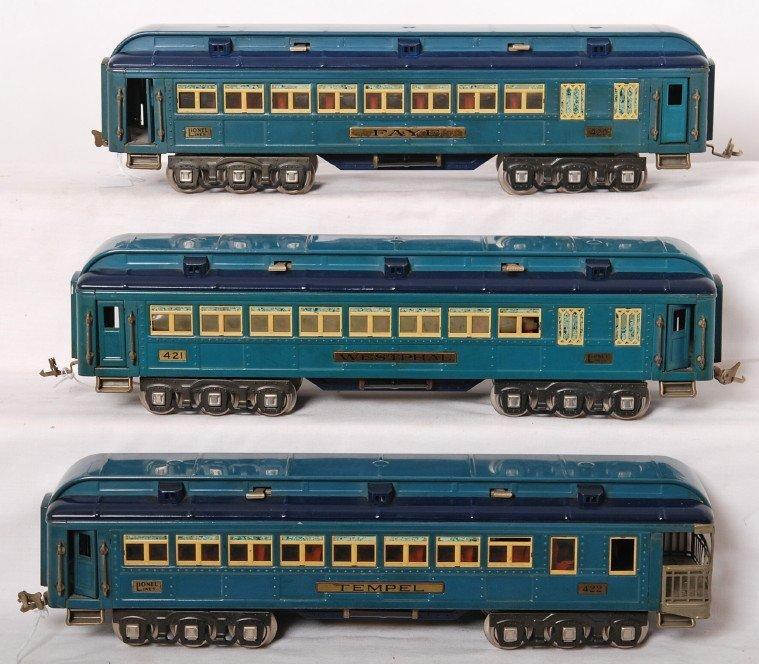 823: Lionel 420, 421, 422 Blue Comet passenger cars