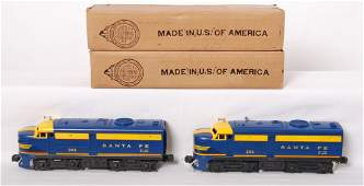 1205: Lionel 204P and 204T Santa Fe blue Alcos in OB