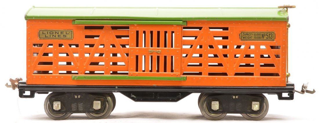 Lionel 513 Orange Cattle Car w/Pea Green Roof