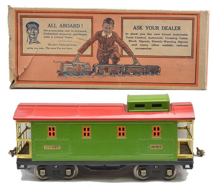 Lionel 517 Pea Green Caboose w/Red Roof OB