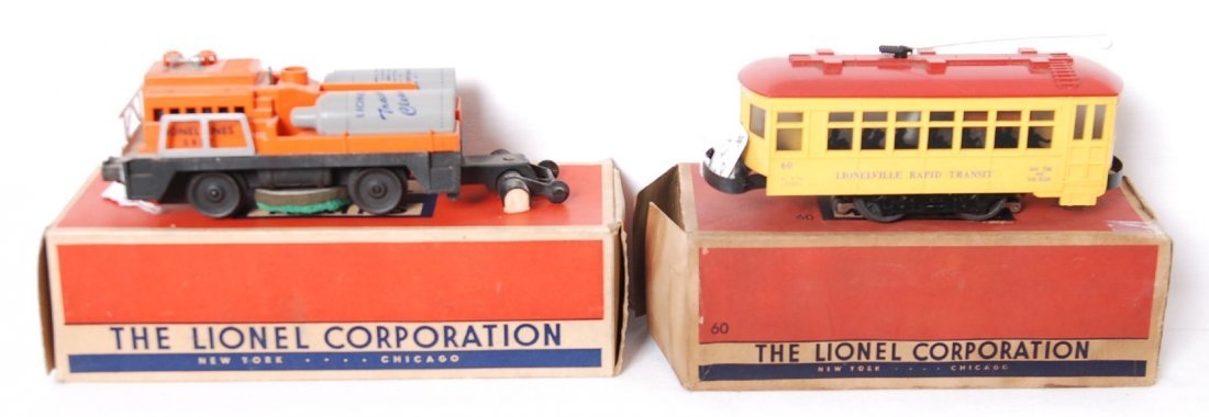 Lionel No. 60 trolley and No. 3927 track cleaner in OB
