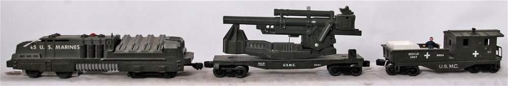 Lionel 45, 6651, 6824 U.S.M.C. military trains
