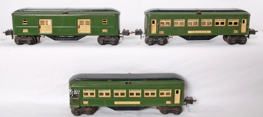 Lionel 2613, 2614, 2615 two-tone gr. passenger cars