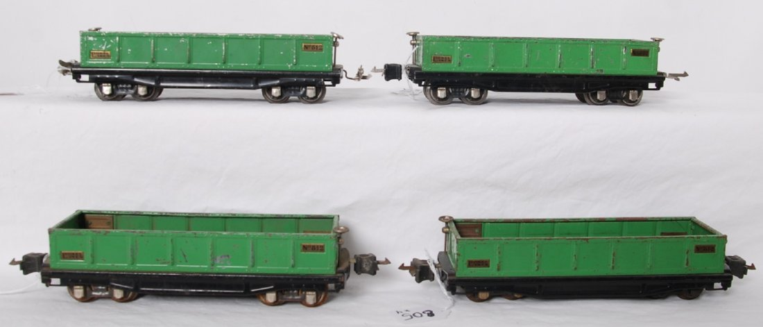 Lionel 812 gondola, four with variations of green color