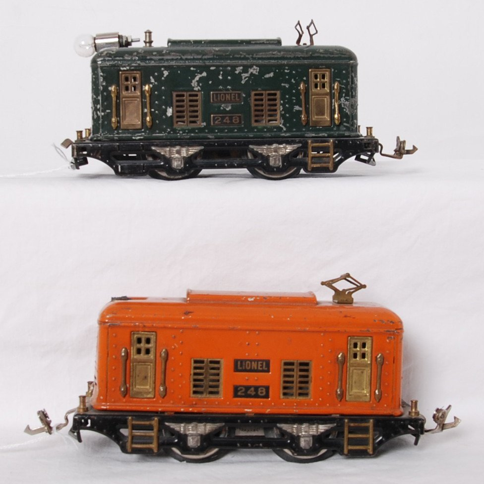 Two Lionel 248 boxcab electric O gauge locos
