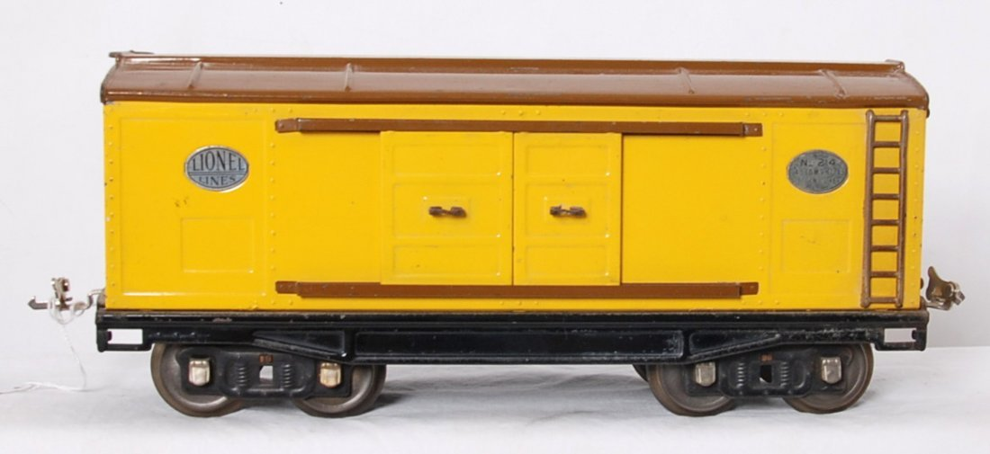 Lionel 214 boxcar in yellow and brown nickel